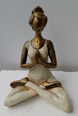 Woman Yoga Resin cm 23hx16x10 Namasté Relax Girl Statue Sculpture White