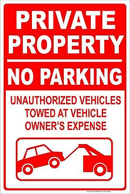 Private Property No Parking Tow Away 8 X 12 Aluminum Metal Sign