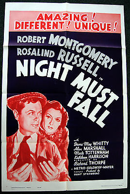 ROSALIND RUSSELL – ROBERT MONTGOMERY – NIGHT MUST FALL – 1962 MOVIE POSTER