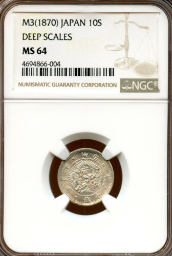 Japan 1870 (Meiji Year 3) Silver 10 Sen, deep scales, NGC MS64