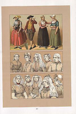 Vintage Mode Kostüm Aufdruck ~ Holland Dutch 1880s - Kostüme Motorhaube