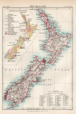 Antique Map Of New Zealand North South Island Wellington  1880
