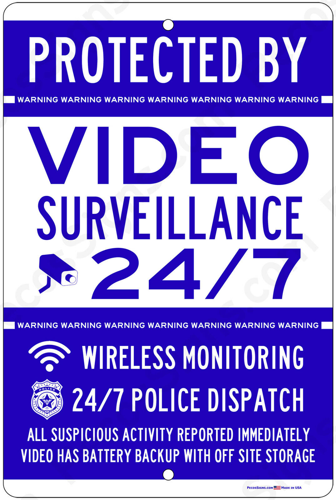 Protected By Video Surveillance CCTV Warning Security Camera