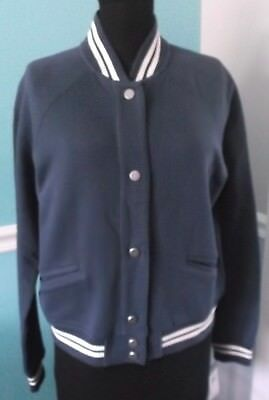 CHAPS WOMENS SNAP FRONT BLUE JACKET - RIVER PATH - BASEBALL STYLE - LARGE - NWT