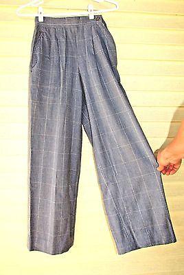 Vtg 50s Womans HIGH WAIST Side Waist Zip Cropped Wide Leg Rockabilly Pants XS