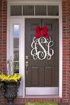 Wooden MONOGRAM door hanger/wreath/Custom Initial/burlap bow/decor/wedding gift
