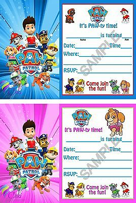 Paw Patrol Birthday Party Invitations (12) Boy & Girl with - Girl Birthday Invitations