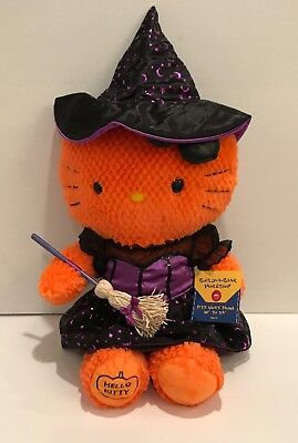 Build A Bear Halloween Hello Kitty Orange Plush with Witch Outfit 18