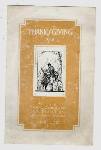 Thanksgiving Program & Menu, CAMP LEWIS, National Army Camp, Washington, 1918