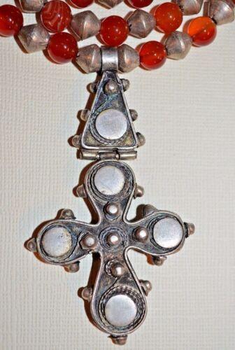 Antique Ethiopian Coptic Cross Necklace African Metal & Carnelian Beads