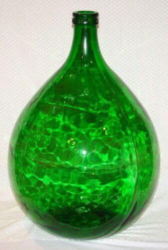 "Huge Demijohn Green Glass Jar 25"" x 16"" Made in Italy -AMBROSIO"