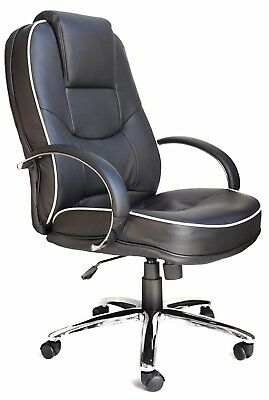 Rome 2 Black Leather Padded Executive Managers Computer Office Chair Graded 95%
