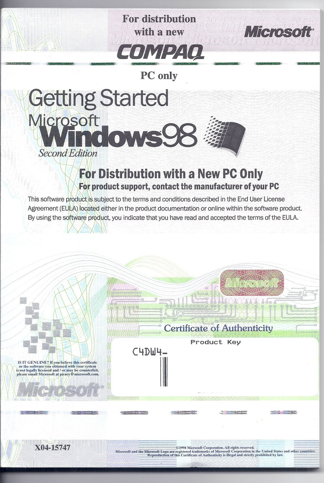 Getting Started Microsoft Windows 98 Manual Booklet With Product Key - $4.99