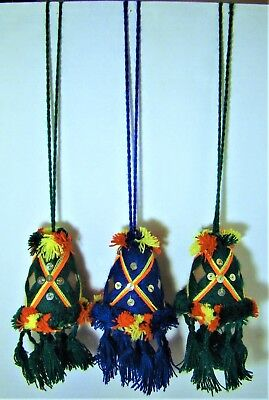 """Set of 3 Souvenir Camel Tassels from Morocco - Hand Sewn - Approx. 16"""" in length"""