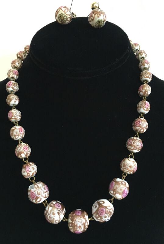 Trifari Venetian Murano White Glass Wedding Cake Bead Necklace & Earrings Set
