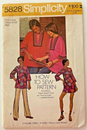 1973 Vntg Simplicity Sewing Pattern 5828 Mens Dashiki Shirt Boho Size 42-44 9441