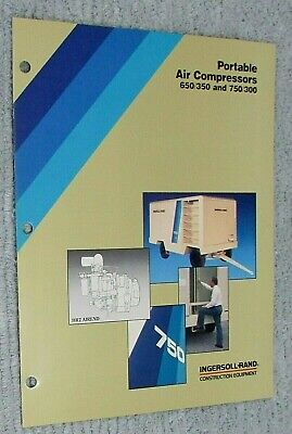 New 1989 Ingersoll Rand Portable Air Compressor 650350 750300 Brochure Free Sh