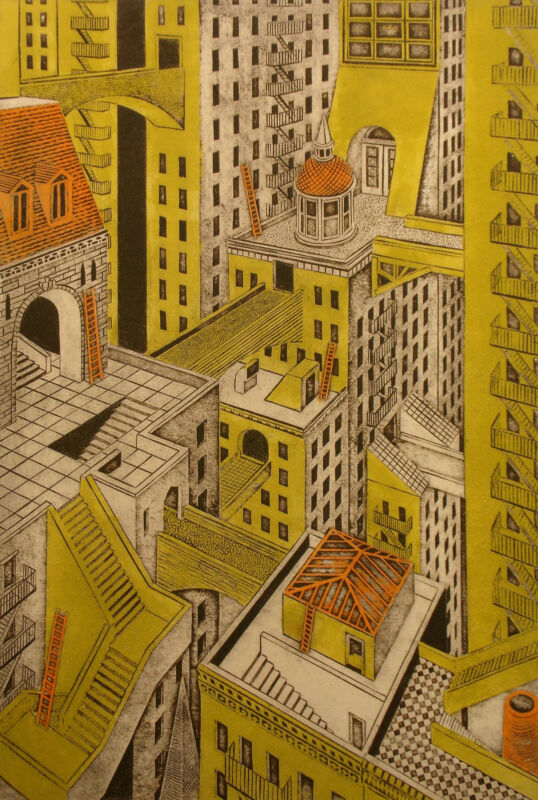 "John Ross ""metropolis"" Hand Signed, Numbered Collagraph Art Print, Make Offer!"