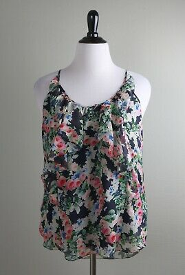 REBECCA TAYLOR NWT $278 Rose Floral Ruffle 100% Silk Cami Tank Top Size 12