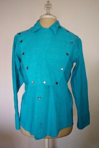 Vintage Western Snap Bib Shirt Miller of Denver Turquoise Size Medium