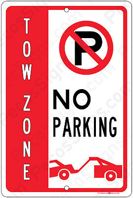 No Parking Wtow Away Symbol 8x12 Aluminum Sign Made In Usa Uv Pro - New Sign