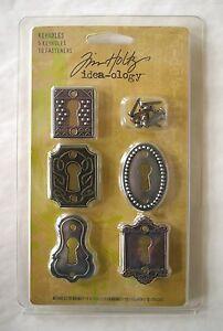 Tim-Holtz-Idea-Ology-Keyholes-5-pkg-Metal-10-Fasteners