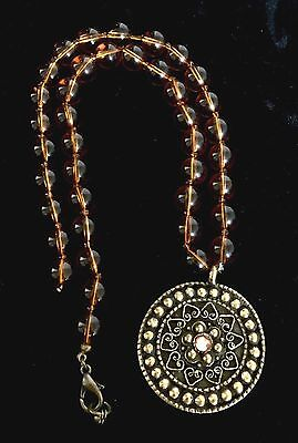 """Gorgeous Beaded Glass Amber Tone Flower Pendant Necklace 16"""" Repair"""