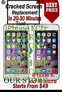 Any iPhone lcd repair @ your door or our store any where gta