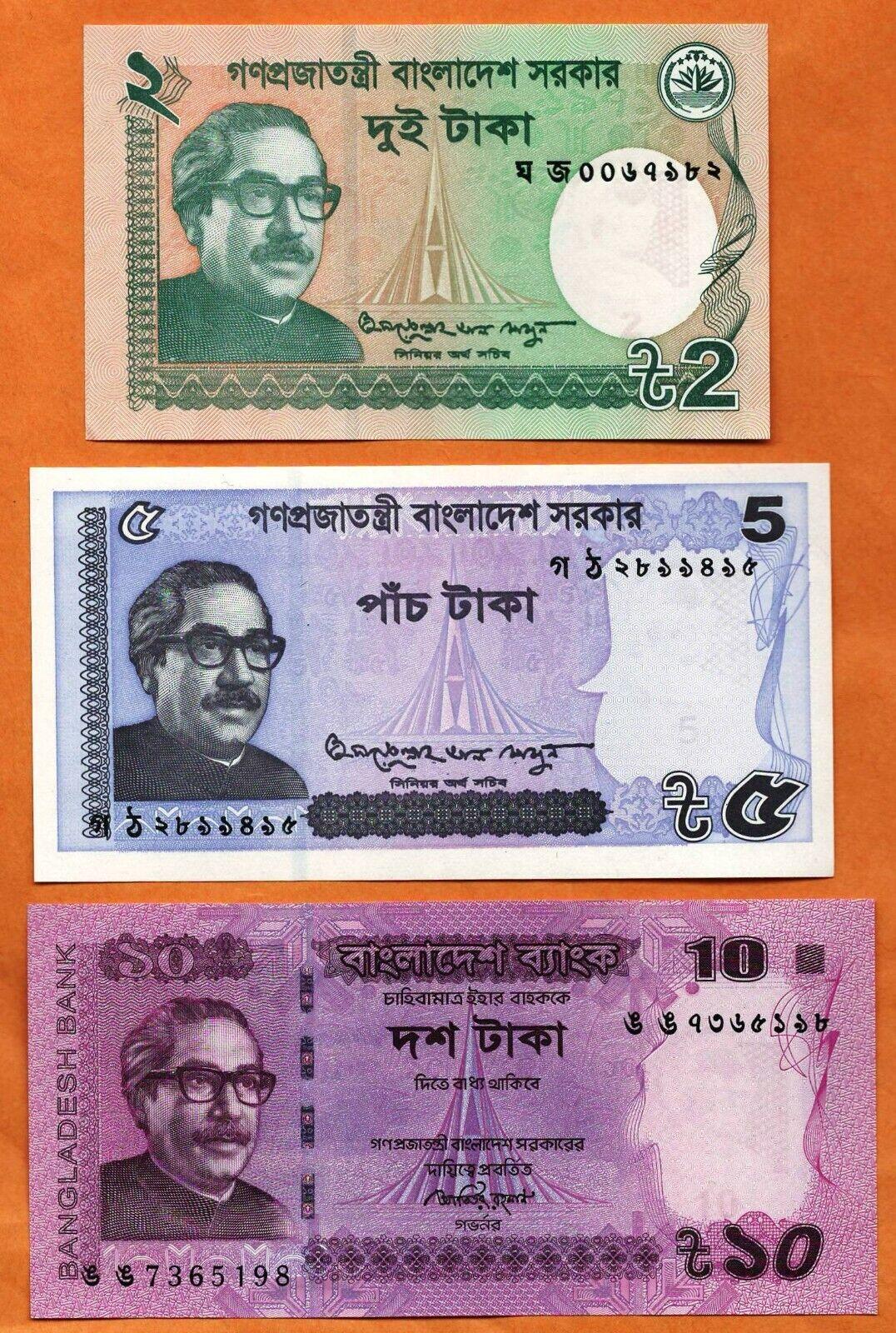 Bangladesh 1,2,5,10 Taka Uncirculated Banknotes SET-6