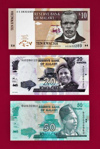 MALAWI UNC NOTES 10 KWACHA 2004 (P43), 20 KWACHA 2015 (P63) 50 KWACHA 2017 (P58)