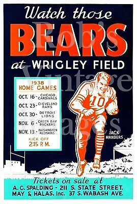 Chicago Bears Season Schedule Poster 1938 Wrigley NFL Vintage Football sm