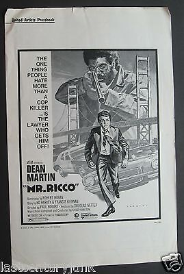 United Artists Pressbook  Publicity Release For Mr Ricco 1975 Dean Martin