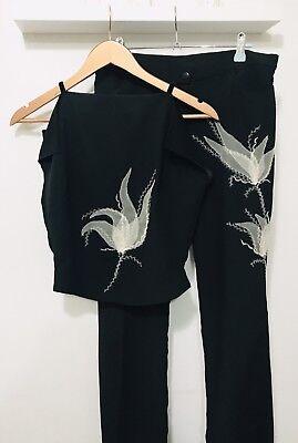 Trouser Co-ord Set, Black With Lace Applique, Vintage, Rare, Excellent Condition