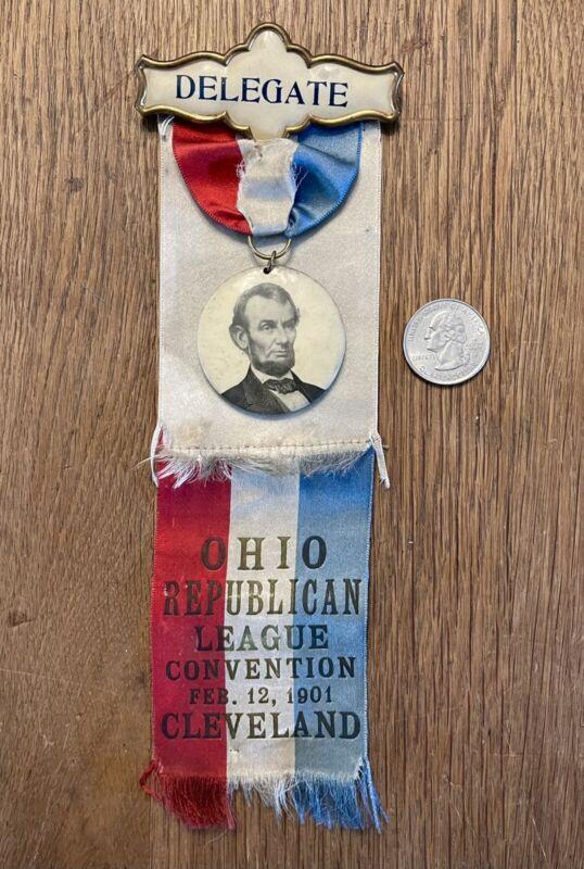 Antique 1901 Ohio Republican League Lincoln Convention Ribbon Button