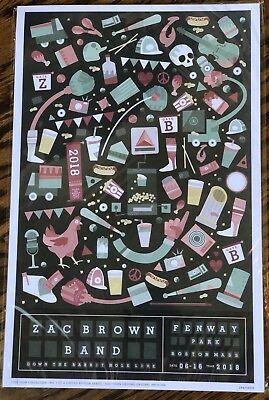 2018 Zac Brown Band Fenway Park Limited Edition 1K Concert Poster Boston Red Sox