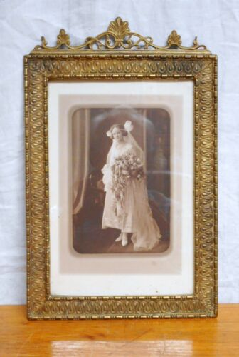 Antique Bronze Picture Frame Easel Back Nice Quality