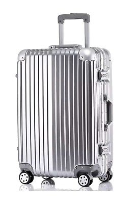 "New 20"" Aluminum Frame Waterproof Carry On Silver Luggage Case Similar to Rimowa"