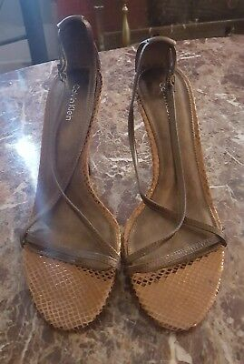 Authentic Calvin Klein Bronze Leather Snake Print Strappy Sandals Heels size 8.5