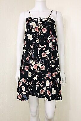Floral Sleeveless Lace Up Boho Swing Dress Size Small (Chica Dress Up)