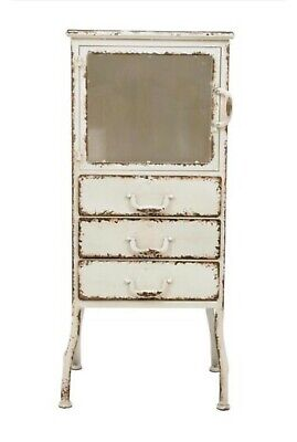 39h Metal Cabinet W3 Drawers Distressed White