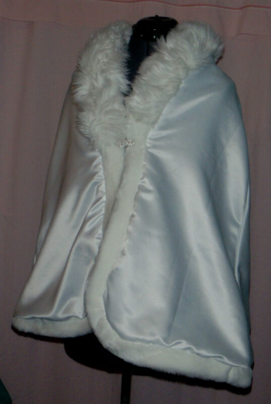 White Bridal Satin Cape with Faux Fur & Fleece Lining for Adult Small FSC08
