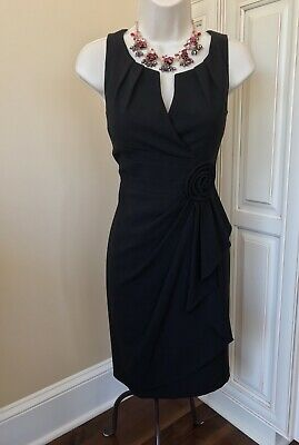 Adrianna Papell Sleeveless Rosette Draped Black Cocktail Evening Dress ~ Size 4