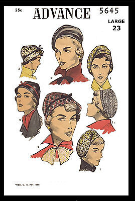 "SEXY Hats BERET Fabric Sew Pattern Large 23"" Millinery 1940's Vtg ADVANCE 5645"