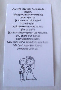 50 Small Wedding Gift Poem Cards Asking For Money Bride Amp Groom 1