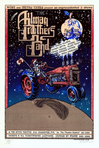 MINT/SIGNED/DOODLED Allman Brothers 1994 EMEK State Theater Detroit Poster