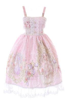 JSK-66-3 Rosa Princesa Joyas Rosas Tirantes Vestido Pastel Goth Lolita Cosplay