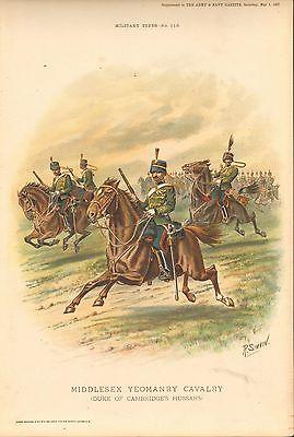 1897 Richard Simkin Military Print, 113 Middlesex Yeomanry Cavalry (Duke of Camb