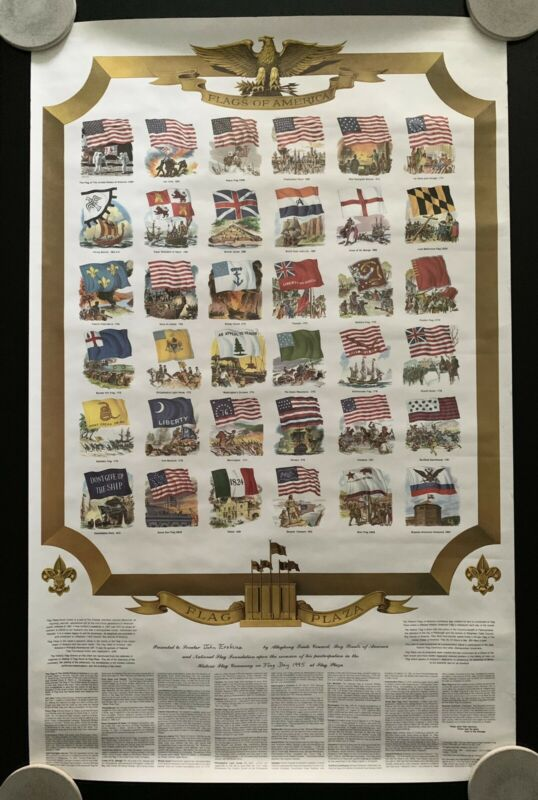 Vintage 1988 Flags of America Poster by Boy Scouts of America On Flag Day
