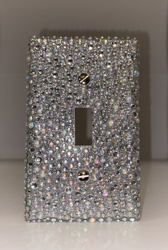 Bling AB Rhinestone Wall Light Switch Plate Cover Single Toggle