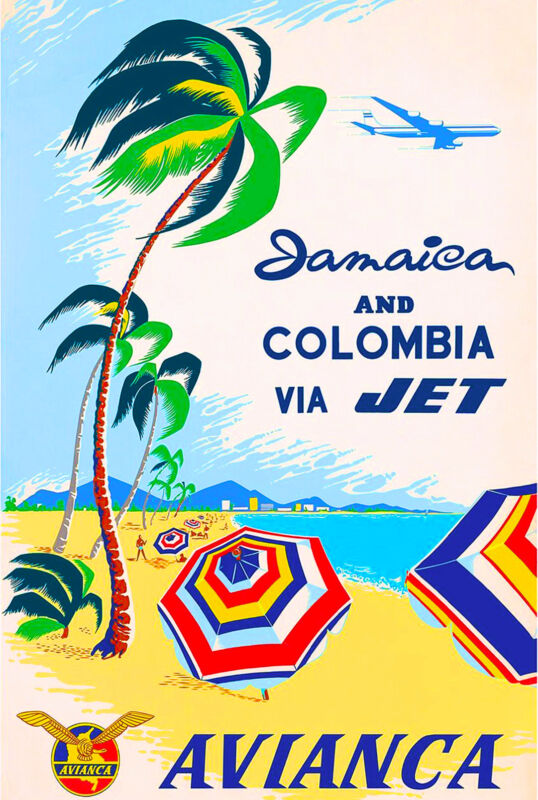 Jamaica Colombia Island Beach Caribbean Vintage Travel Advertisement Art Poster